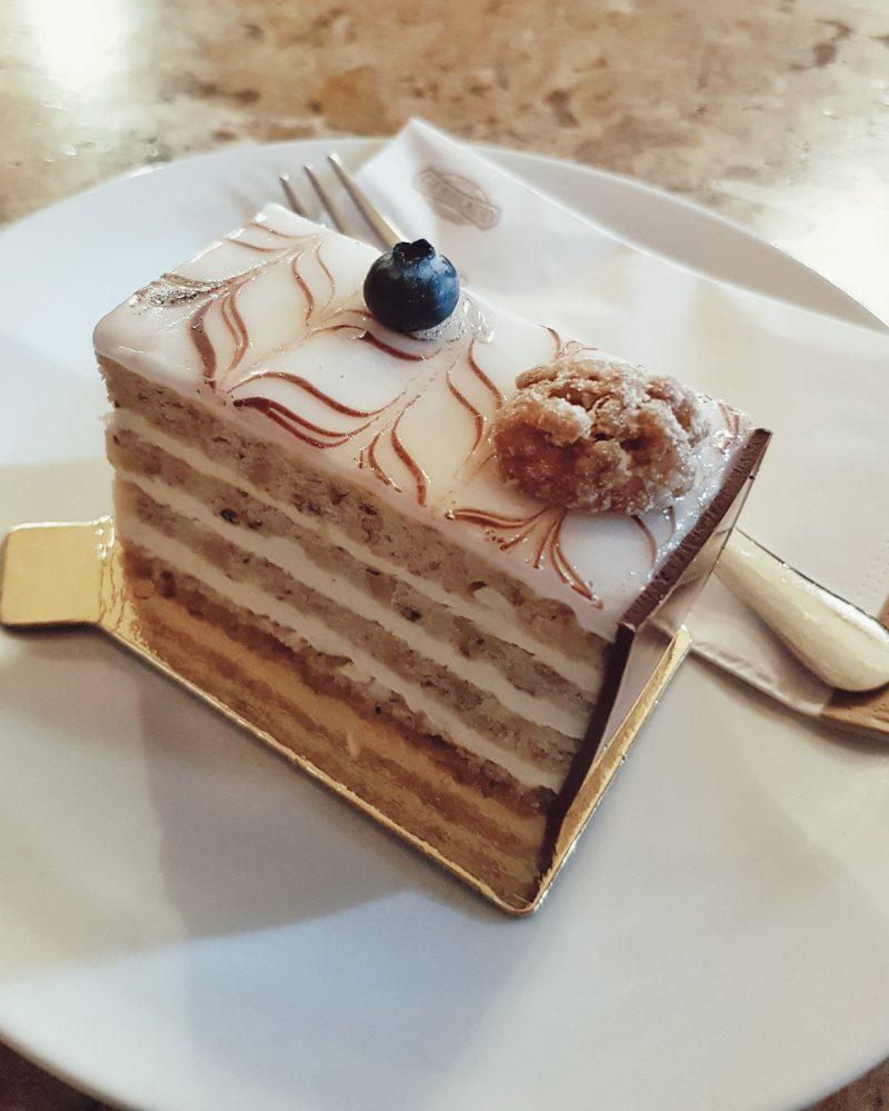 eszterhazy cake on a plate